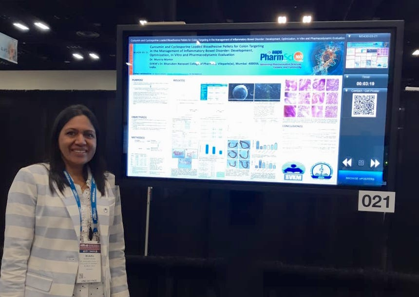 Dr. Munira Momin presented research paper at 2019 AAPS PharmSci 360, held on November 3-6, 2019 at San Antonio, Texas, USA